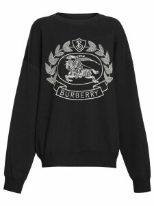 Burberry Crest Merino Wool Blend Jacquard Sweater - Black