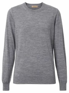 Burberry Vintage Check Detail Merino Wool Sweater - Grey