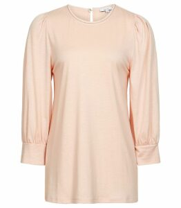 Reiss Acian - Embellished Long Sleeved Jersey Top in Soft Pink, Womens, Size XL