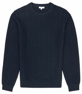 Reiss Barton - Textured Cotton Jumper in Navy, Mens, Size XXL