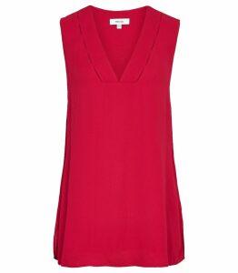 Reiss Juno - V-neck Top in Magenta, Womens, Size 14