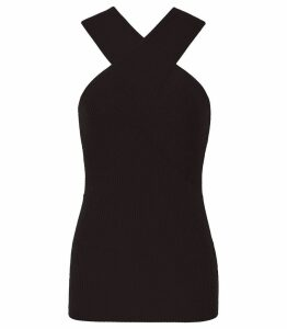 Reiss Dana - Cross Front Top in Black, Womens, Size XXL