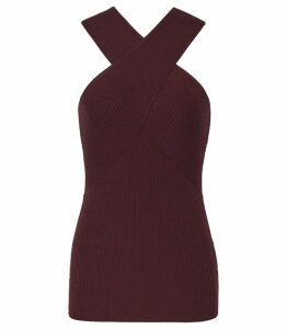 Reiss Dana - Cross Front Top in Berry, Womens, Size XXL