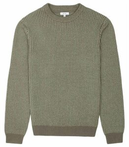 Reiss Filbert - Textured Crew Neck Jumper in New Sage, Mens, Size XXL