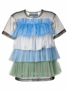 Viktor & Rolf Rainbow Stripes ruffle top - Blue