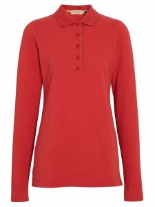 Burberry Long-sleeve Check Placket Cotton Piqué Polo Shirt - Red