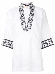 Tory Burch embroidered trim tunic top - White