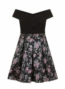 **Chi Chi London Black Foldover Bardot Skater Dress, Black