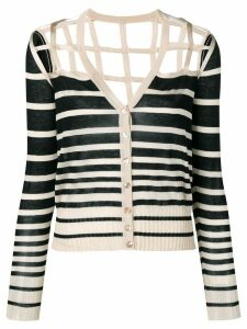 Jean Paul Gaultier Pre-Owned striped open back cardigan - NEUTRALS