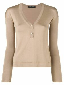 Dolce & Gabbana Pre-Owned 1990's V-neck button jumper - NEUTRALS
