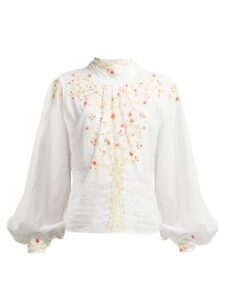 Thierry Colson - Teresa Floral Embroidered Cotton Blouse - Womens - White Multi