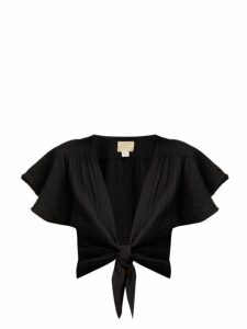 Anaak - Maithili Tie-front Cotton Blouse - Womens - Black