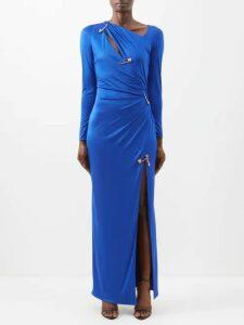 Le Sirenuse, Positano - Lucy Postcard Print Cotton Shirtdress - Womens - Dark Blue