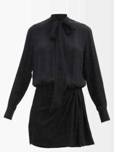 Saint Laurent - Heart-print Silk Crepe De Chine Blouse - Womens - Black White