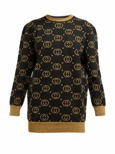 Gucci - GG-jacquard Wool-blend Sweater - Womens - Black Gold