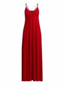 Norma Kamali - V-neck Jersey Slip Dress - Womens - Red