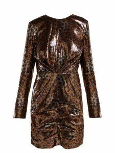 MSGM - Leopard-print Sequinned Mini Dress - Womens - Black Gold