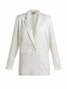 Adriana Iglesias - Single-breasted Silk-jacquard Blazer - Womens - White