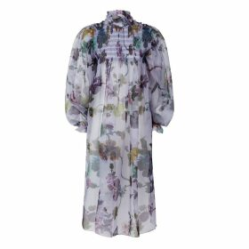Klements - Smocked Dusk Dress In Gothic Floral Print Iced Lilac