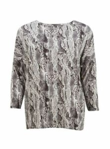 Grey Snake Print Long Sleeve Top, Grey