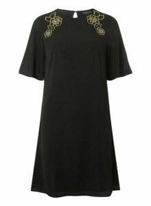 Womens Black Embroidered Shoulder Shift Dress, Black
