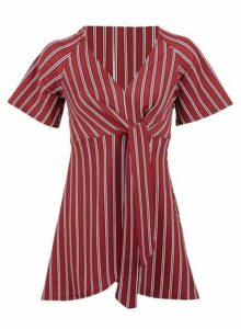Womens *Izabel London Red Striped Tie Front Top, Red