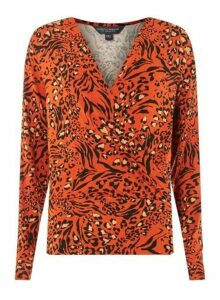 Womens Tall Orange Animal Print Wrap Top - Red, Red
