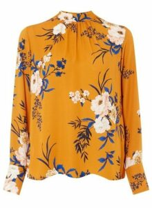 Womens Mustard Floral Long Sleeve Top - Yellow, Yellow