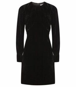 Reiss Bianca - Velvet Mini Dress in Black, Womens, Size 16