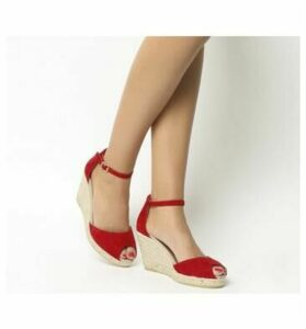Gaimo for OFFICE Susan Wedge Espadrille RED SUEDE