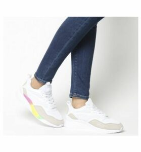 Office Fife Chunky Lace Up Trainer WHITE WITH RAINBOW SOLE