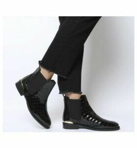 Office Bramble Chelsea BLACK PATENT CROC LEATHER WITH METAL HARDWARE