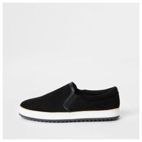 River Island Womens Black faux suede slip on trainers