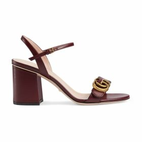 Leather mid-heel sandal with Double G