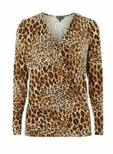 Womens Tall Brown Leopard Print Wrap Top, Brown