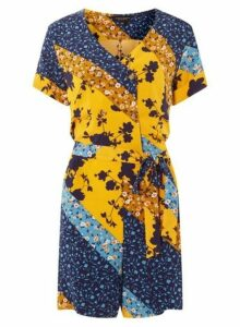 Womens Blue And Yellow Cutabout Horn Effect Button Playsuit- Multi Colour, Multi Colour