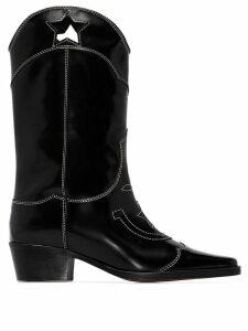 Ganni Marlyn 50mm cutout star cowboy boots - Black