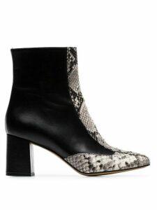 Kalda black Gata 70 snakeskin print ankle boots