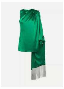 Hillier Bartley - One-shoulder Draped Silk-satin Blouse - Green