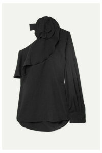 Oscar de la Renta - One-shoulder Ruffled Stretch-silk Blouse - Black
