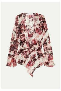 IRO - Paradon Ruffled Floral-print Georgette Wrap-effect Blouse - Ecru