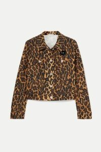 Miu Miu - Cropped Leopard-print Denim Jacket - Brown