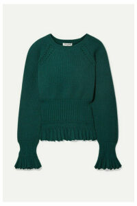 Opening Ceremony - Ruffled Pointelle-trimmed Knitted Sweater - Emerald