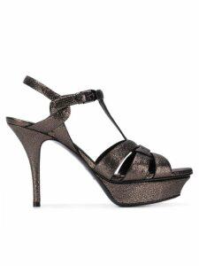 Saint Laurent platform glitter sandals - Metallic