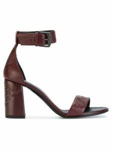Bottega Veneta intrecciato block heel sandals - Red