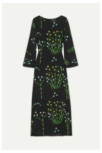 BERNADETTE - Floral-print Silk Crepe De Chine Midi Dress - Black