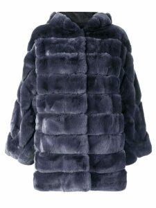 Liska hooded short coat - Blue