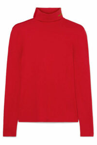 CALVIN KLEIN 205W39NYC - Embroidered Stretch-cotton Jersey Turtleneck Top - large