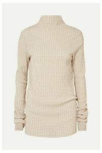 Jil Sander - Checked Crepon Turtleneck Top - Beige