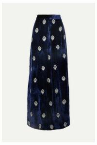 Seren - Joni Embroidered Velvet Wide-leg Pants - Navy